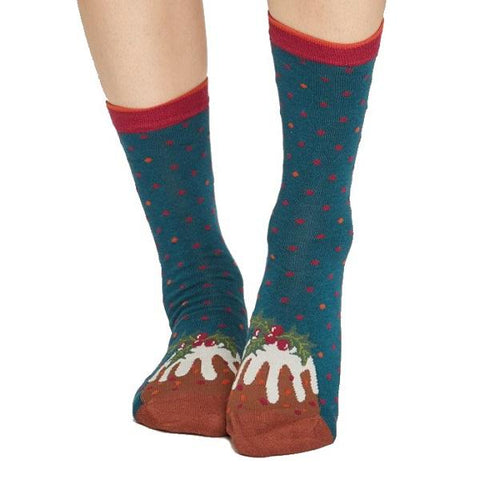 Bamboo Christmas Figgy Pudding Socks in a Bag - front view
