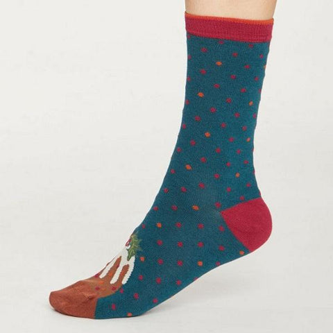 Image of Bamboo Christmas Figgy Pudding Socks in a Bag - side view