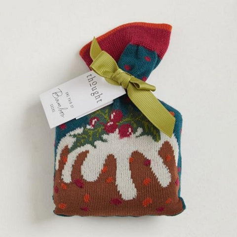 Bamboo Christmas Figgy Pudding Socks in a Bag - in the bag