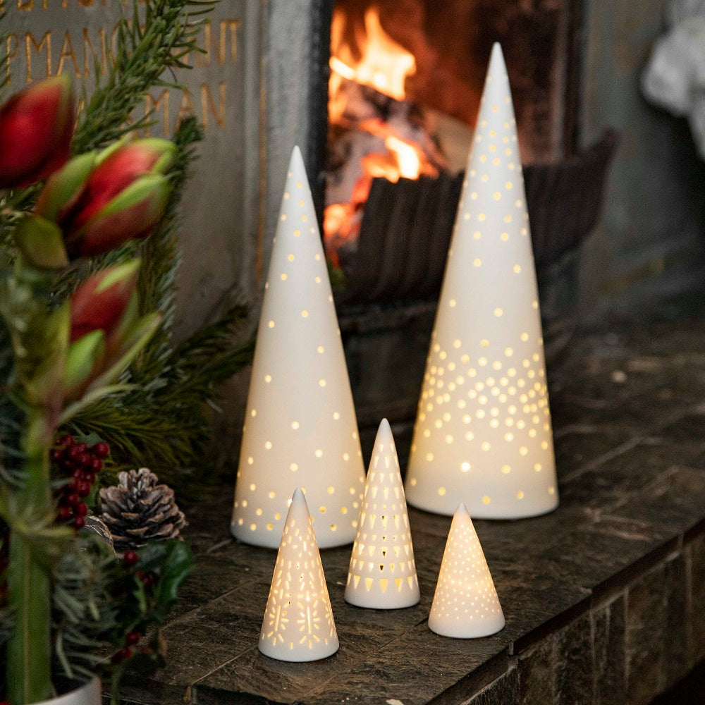 LED Fir Tree lights selection by fire - lit