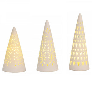 Mini LED Fir Tree lights - Set of 3 - Lit