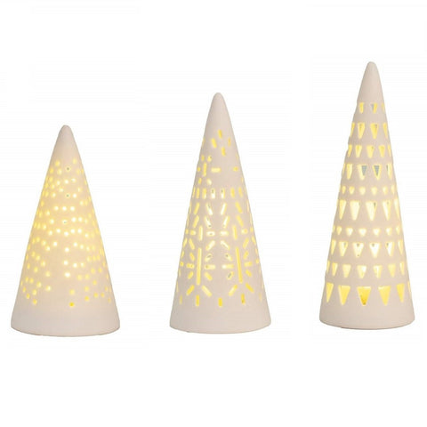 Image of Mini LED Fir Tree lights - Set of 3 - Lit