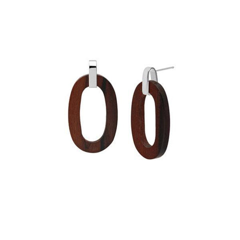 Flat Oval Earrings - Silver & Rosewood