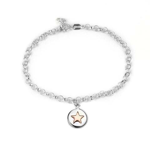 Good luck circle bracelet with rose gold star and bespoke story card