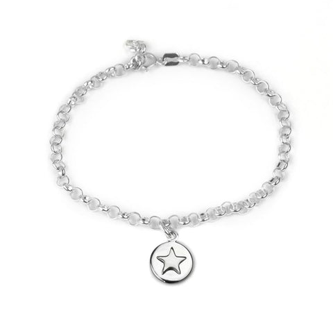 Good luck circle bracelet with silver star and bespoke story card