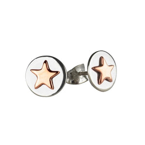 Good luck circle stud earrings with rose gold star and bespoke story card