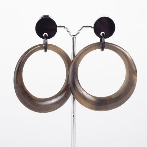 Water buffalo dark horn graduated hoop earrings on posts