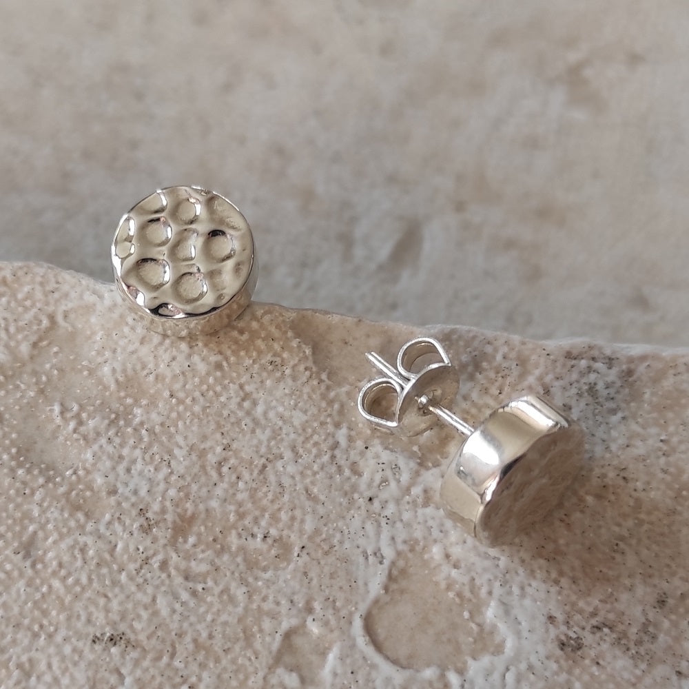 Hammered Sterling Silver Stud Earrings 2