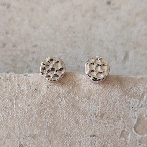 Image of  Hammered Sterling Silver Stud Earrings