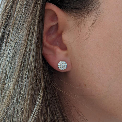 Image of  Hammered Sterling Silver Stud Earrings on Model
