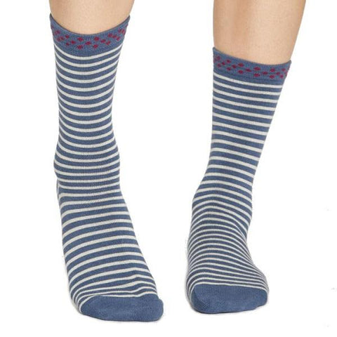 Hedda Stripe Bamboo Socks  - front view