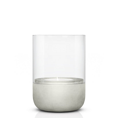 Image of Small tealight concrete & glass candle holder or hurricane lamp by blomus with candle