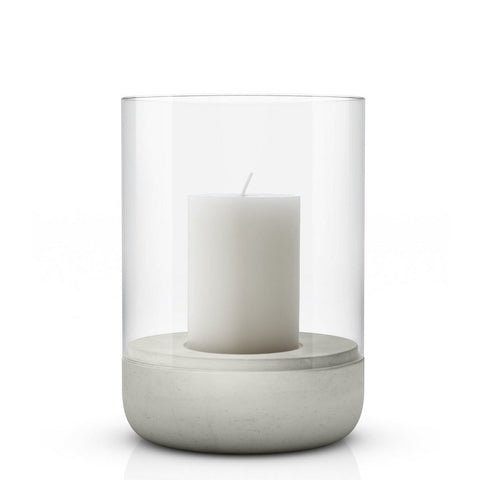 Image of Large concrete & glass candle holder or hurricane lamp by blomus with candle
