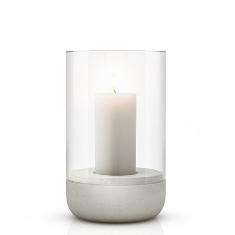 Image of Medium concrete & glass candle holder or hurricane lamp by blomus with lit candle