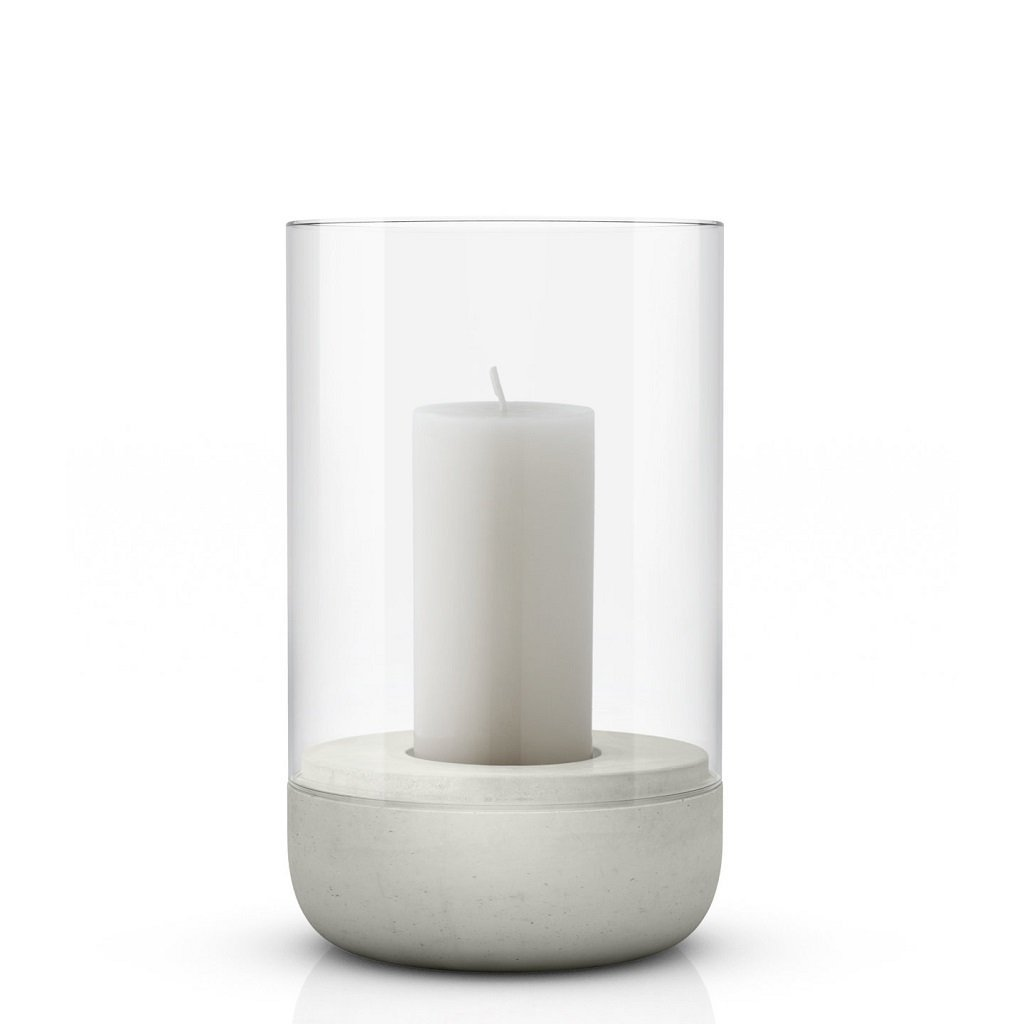 Medium concrete & glass candle holder or hurricane lamp by blomus with candle