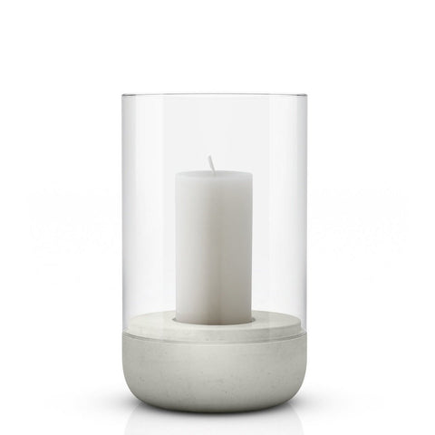Image of Medium concrete & glass candle holder or hurricane lamp by blomus with candle