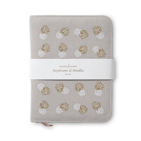 Embroidered zip journal or notebook in cloud Ananas pineapple pattern