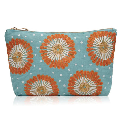 Image of Soft canvas travel pouch in blue Lamu pattern on white background