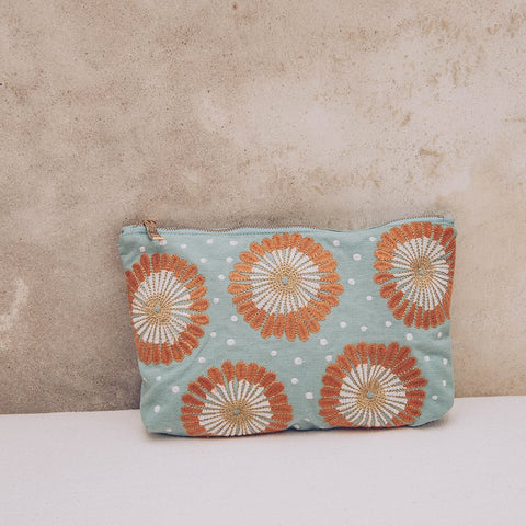 Image of Soft canvas travel pouch in blue Lamu pattern