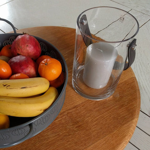 Image of Glass lantern candle holder with handle or hurricane lamp by blomus with fruit bowl