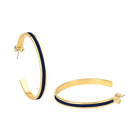 Image of  Large Enamel Hoop Earrings In Night Blue