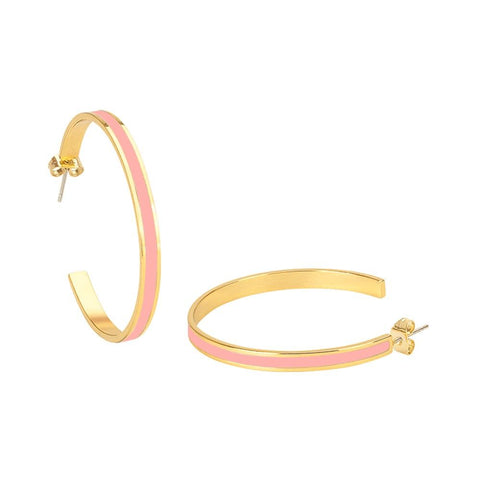 Image of  Large Enamel Hoop Earrings In Pink Powder