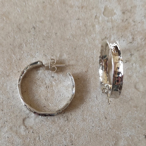 Image of Large Hammered Silver Hoop Earrings