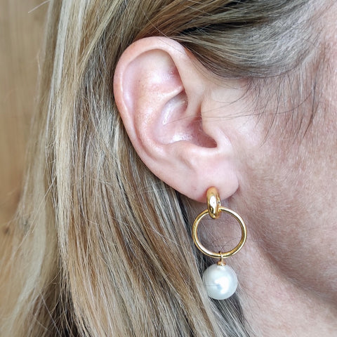 Image of Layla double hoop pearl earrings on model