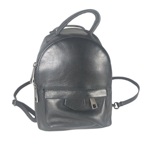 Modern genuine Italian leather mini convertible crossover backpack in black