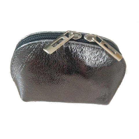 Image of Genuine leather coin purse in metallic pewter on white background