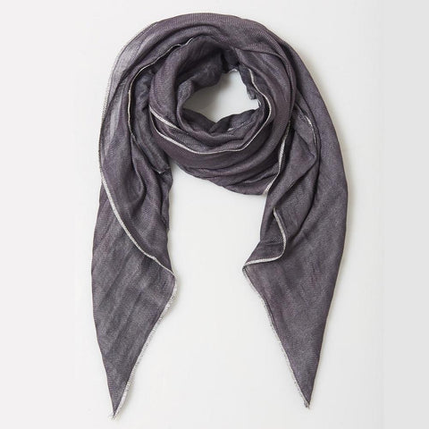 Metallic Edged Linen Scarf in Graphite