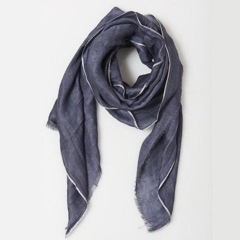 Image of Metallic Edged Linen Scarf in Navy Blue