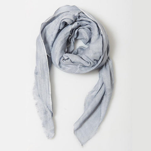Metallic Edged Linen Scarf in Silver
