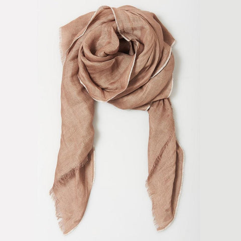 Image of Metallic Edged Linen Scarf in Taupe