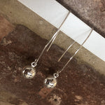 Long Drop Silver Ball Earrings