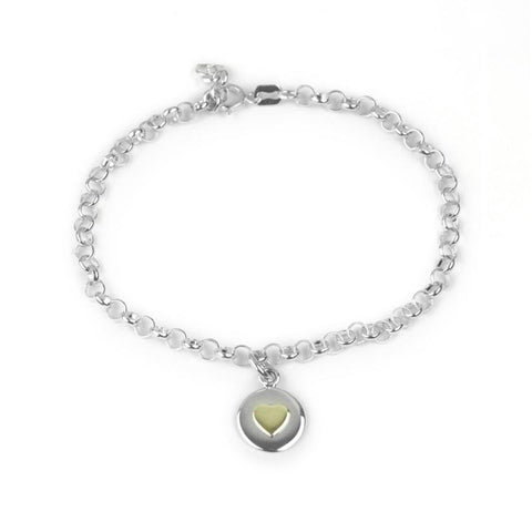 Love circle bracelet with gold heart and bespoke story card