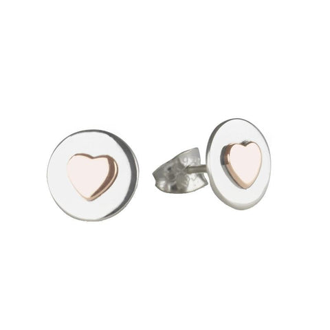 Love circle stud earrings with rose gold hearts
