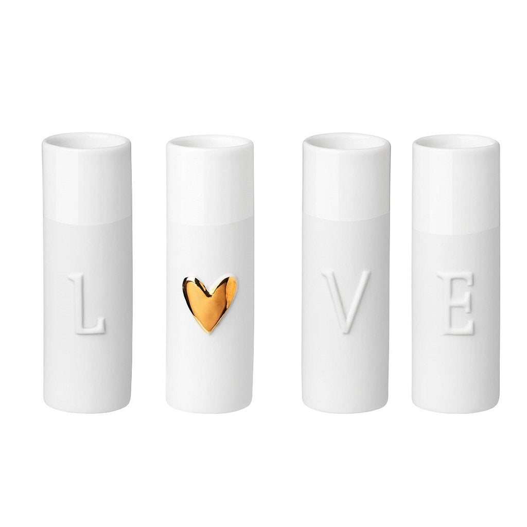 Delicate porcelain love mini vases set of four by räder