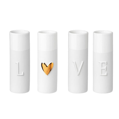 Image of Delicate porcelain love mini vases set of four by räder