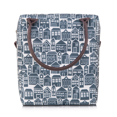 Adult lunch or picnic bag in bold About Town print
