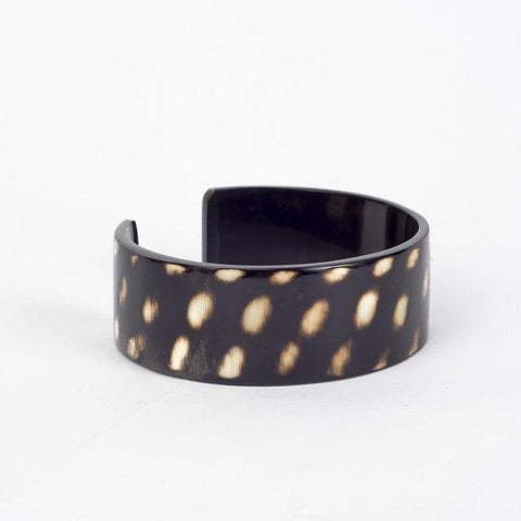 Water buffalo dark horn narrow cuff bracelet with white spots
