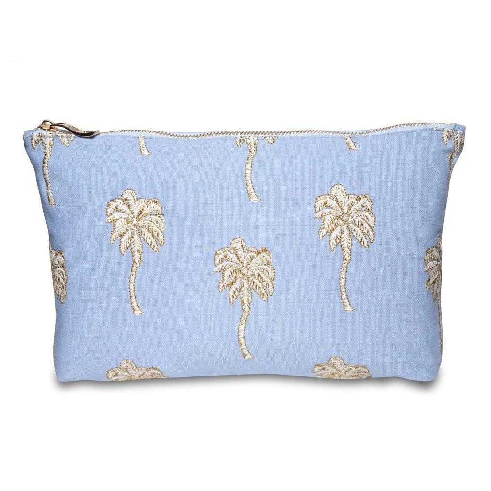 Soft canvas travel pouch with embroidered Palmier or palm tree pattern in baby blue colour
