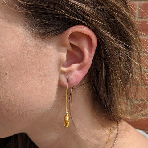 Gold Pebble Hook Earrrings