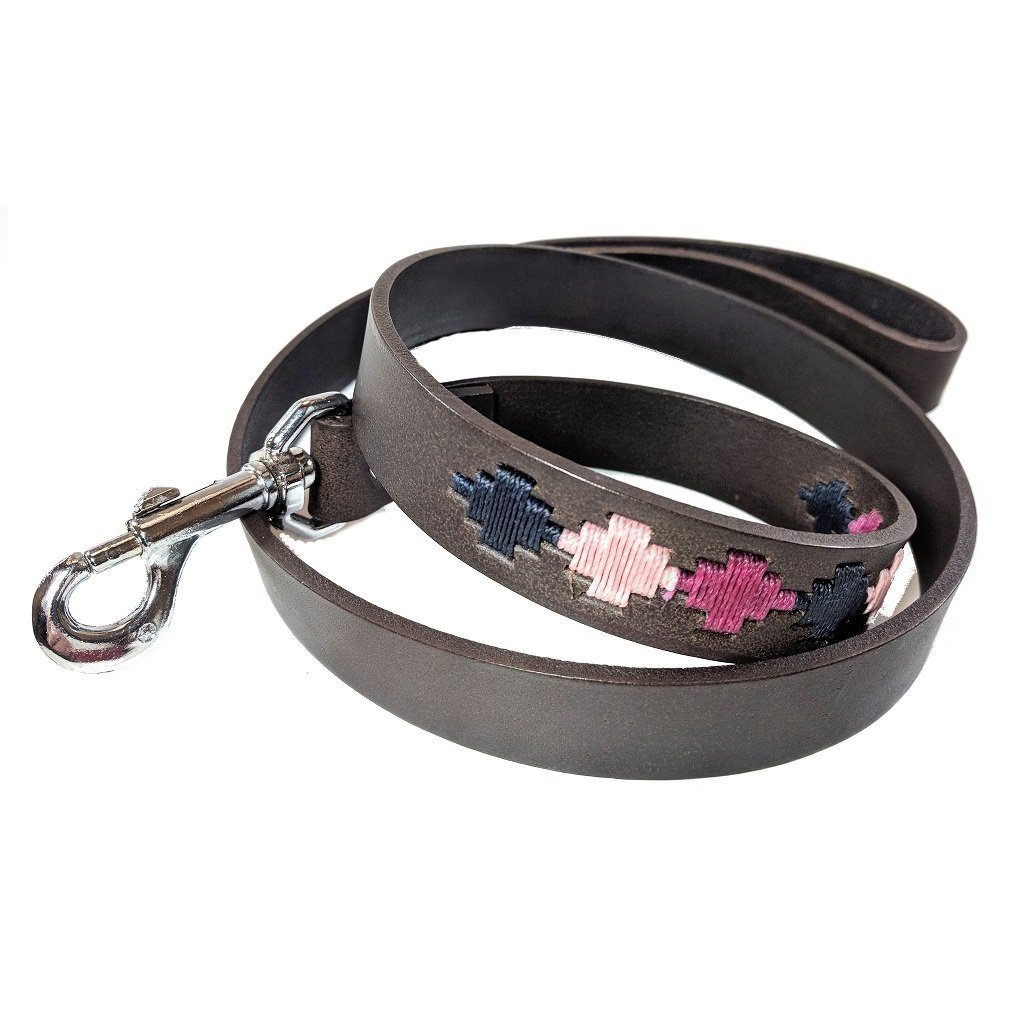 Argentinian embroidered bridle leather Polo style dog lead in brown leather with berry, navy & pink
