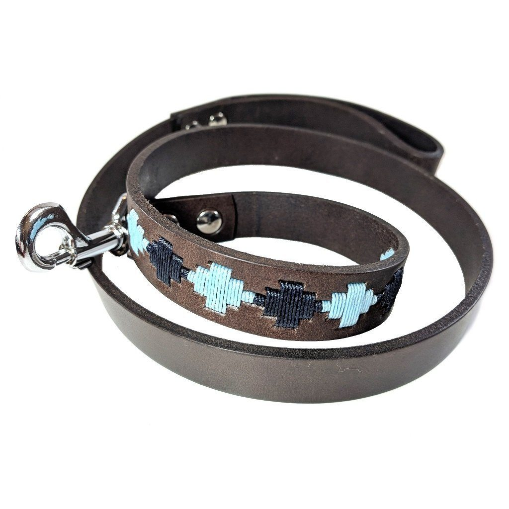 Argentinian embroidered bridle leather Polo style dog lead in brown leather with navy & pale blue