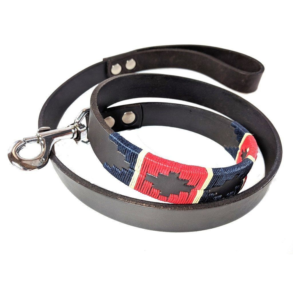 Argentinian embroidered bridle leather Polo style dog lead in brown leather with red, navy & cream stripe