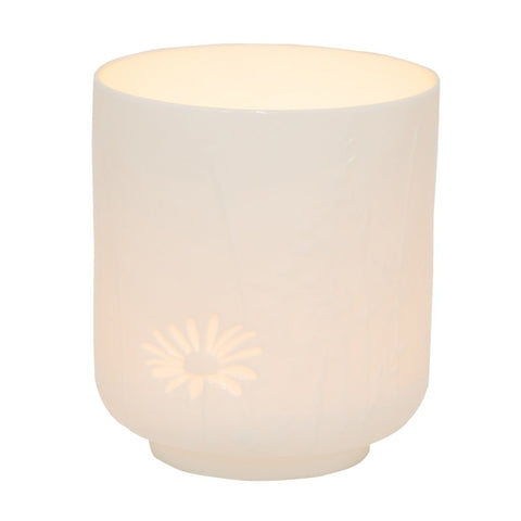Small delicate porcelain poetry table light in Grasses & Blossom pattern by räder with lit tealight