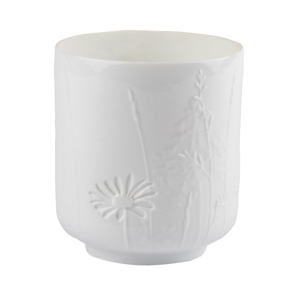 Small delicate porcelain poetry table light in Grasses & Blossom pattern by räder