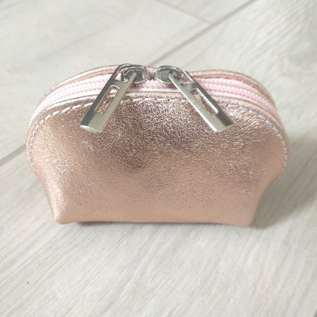 Genuine leather coin purse in metallic rose gold