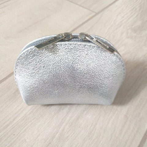 Image of Genuine leather coin purse in metallic silver